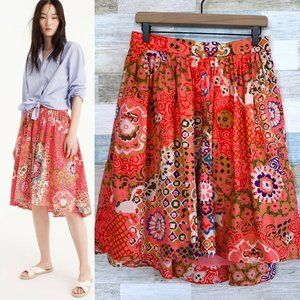 J Crew Paisley Pleated Flowy Skirt Pink